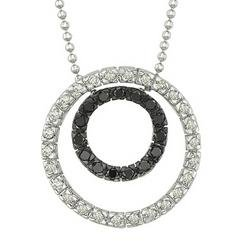 14K White Gold Round White & Black Diamond Pendant & Necklace - Circle Shape