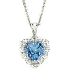 14K White Gold Blue Topaz & Diamond Necklace