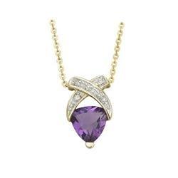 14K Yellow Gold Trillion Amethyst & Diamond X Bypass Necklace