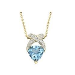 14K Yellow Gold Trillion Blue Topaz & Diamond X Bypass Necklace