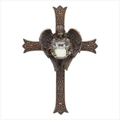 ANGEL WALL CROSS CANDLEHOLDER