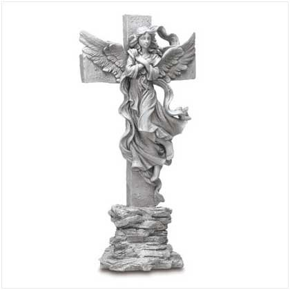 Polyresin Cross with Angel Statue