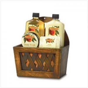 Peach Bath Set in Wooden Baskt