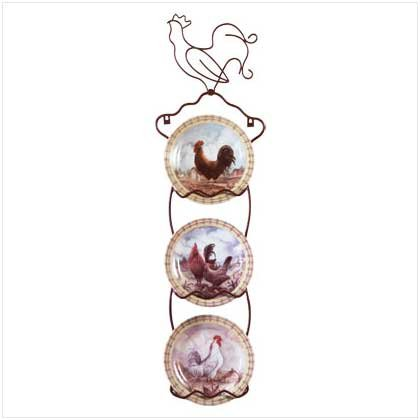 4PC ROOSTER PLATES/DISPLAY SET
