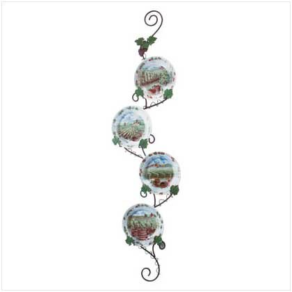 Grapes/Wine Plates with Rack - 5 Pc