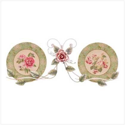 Floral Plates/Metal Rack - 3 Pc