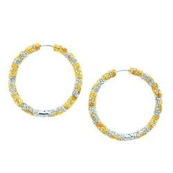 Large Bronze Crystal Hoops