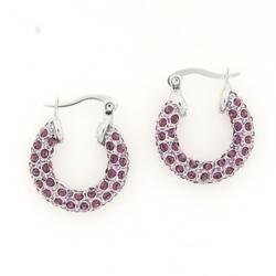 Amethyst Crystal Hoops