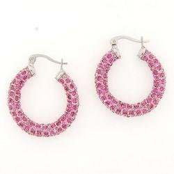 Large Rose Crystal Hoops