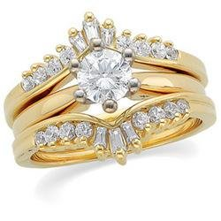14K Yellow Gold Diamond Ring Guard