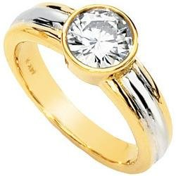 14K Two Tone Gold Solitaire Created Moissanite Engagement Ring