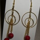 Dangel Earring/Round red Stone