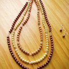 Three color pearl necklace and earrings