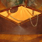 Brown Vintage Snake Skin Clutch Handbag By Etra