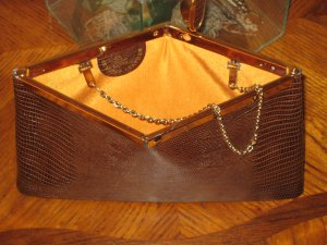 Brown Vintage Snake Skin Clutch Handbag By Etra