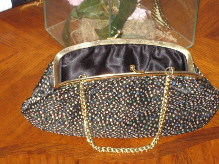 1940 VintageBeautiful Speckled Black Cloth Clutch handbag
