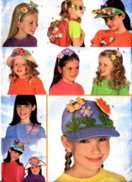 BUTTERICK 5453 Girls Headband & Hat flower embellishments Pattern