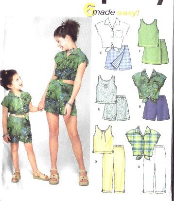 SIMPLICITY 9283 Girls Summer Tops & Shorts Pattern sizes 7-14