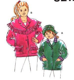 Kwik Sew 2410 Girl's Fleece Fringe Jacket & Hat Pattern XS-XL