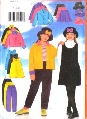 BUTTERICK 5170 Girls Polar Fleece Jacket Skirt Pants Hat Pattern 7-8-10