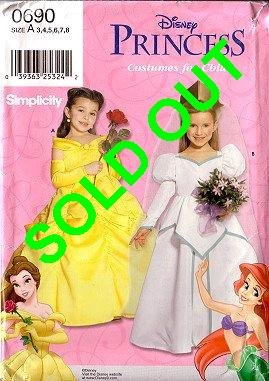 SIMPLICITY 0690 9902 Disney Princess Belle & Ariel Costume Dress Pattern Sizes 3-8