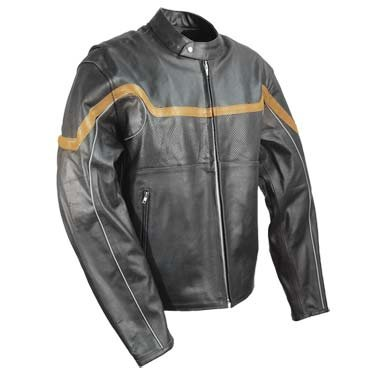 New MOTORCYCLE BIKE LEATHER MENS JACKET BLACK