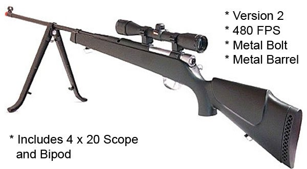 SUPER 9 PRO 480 FPS AIRSOFT SNIPER RIFLE W SCOPE/BIPOD
