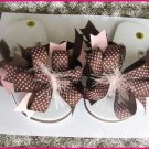 Brown & Pink Fun Bow Flip Flops