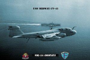 USS Midway Squadron VAQ-136 Gaunlets (8x12) Photograph