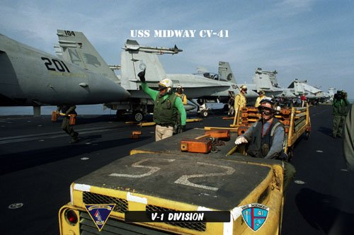 USS Midway  V-1 Div ABH (Yellow Shirt) & V-2 (Green Shirt)(8x12) Photograph
