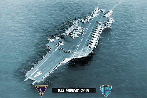 "USS Midway CV-41 ""HI MOM"" (8x12) Photograph"