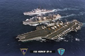 USS Midway CV-41 at Sea During UNREP & Escort (8x12) Photograph