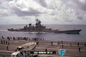 USS Midway CV-41 with Battleship USS New Jersey BB-62 (8x12) Photograph