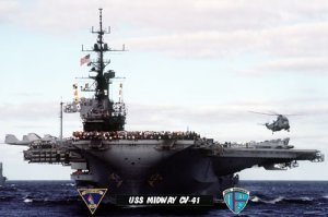USS Midway CV-41 Crew on Flight Deck & SH-3G Sea King Helicopter (8x12) Photograph