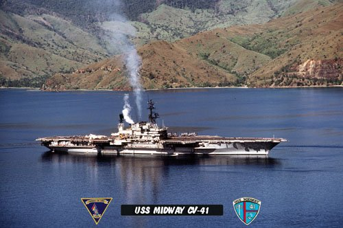 USS Midway CV-41 Arriving Subic Bay Philippines (8x12) Photograph