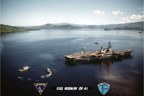 USS Midway CV-41 Arriving Subic Bay Philippines 3 (8x12) Photograph