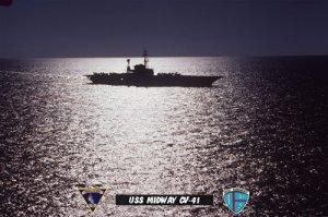USS Midway CV-41 At Sea & Under Moonlight (8x12) Photograph