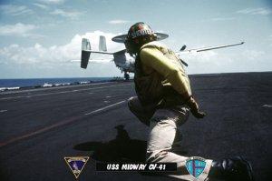 USS Midway CV-41 Shooter Launching VAW-115 E-2 Hakeye  (8x12) Photograph