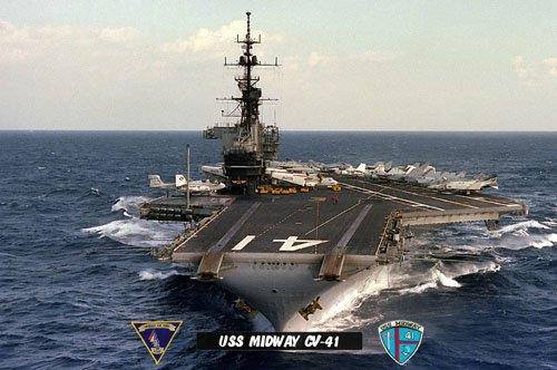 USS Midway CV-41 Aircraft & Ordinance  Men (Red Shirts) on Flight Deck (8x12) Photograph