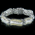 14k Gold Women's Diamond Bracelet with White and Yellow Diamonds 11.98 ctw