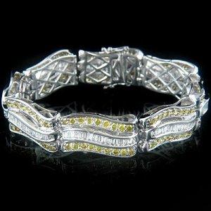 14k Gold Women's Diamond Bracelet with White and Yellow Diamonds 11.98 ctw