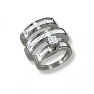 14k Gold Diamond Engagement & Wedding Band set with princess cut & baguette diamonds 1.60 ctw.
