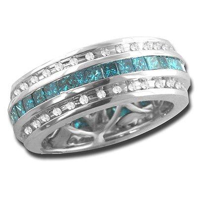 14k Gold Diamond Wedding Band Eternity Ring blue and white diamonds 2.64 ctw.