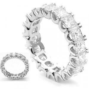 18K Gold Diamond Eternity Ring with princess cut diamonds 3.18 ctw.