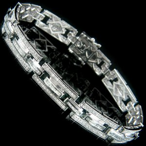 14k Gold Diamond Bracelet with Baguette and Round Cut Diamonds