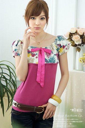 Floral - Sleeve Slimming Blouse