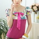 Floral - Sleeve Slimming Blouse