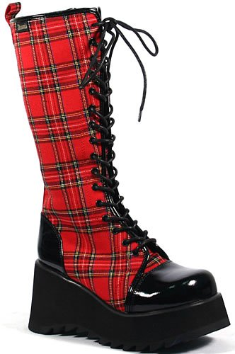 """3 1/2"""" red plaid boot"""