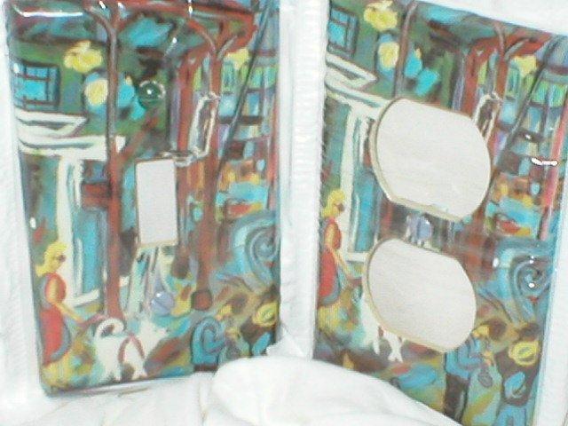 Modern City Design Light Switch Plate Single Size set