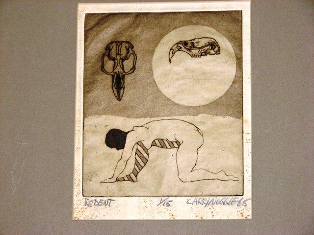 Original Vintage 1965 Signed Ink Surrealist Art